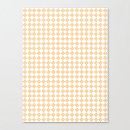 Small Diamonds - White and Sunset Orange Canvas Print