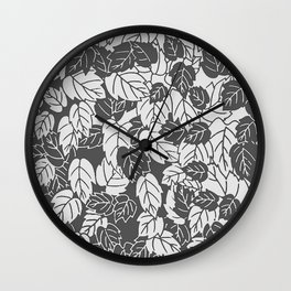 Japanese Leaf Print, Light and Dark Gray / Grey Wall Clock