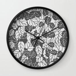 Japanese Leaf Print, Light and Dark Gray / Grey Wall Clock