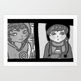 Doll faces 01 (Black And White) Art Print