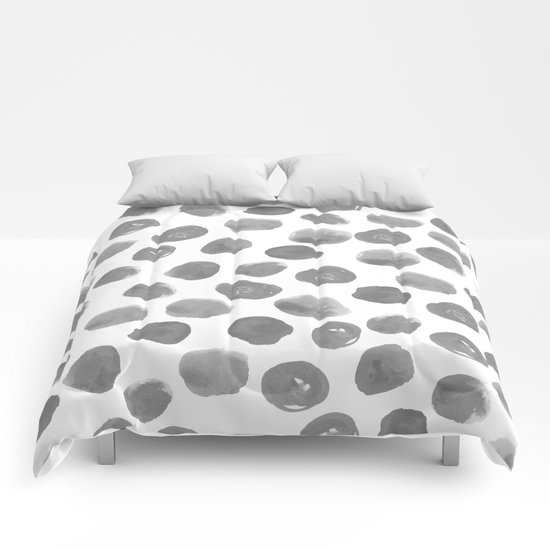 Grayson - grey and white modern brushstroke monochromatic dots abstract painting design hipster art Comforters