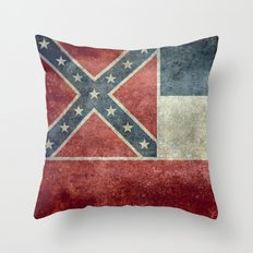 Mississippi State Flag, Distressed version Throw Pillow