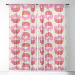 Flowers geometry - retro pattern no2 Sheer Curtain