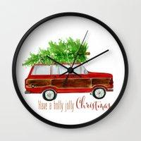 craftberrybush Wall Clocks featuring Christmas Wagoneer  by craftberrybush