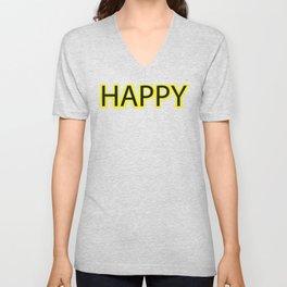 Happy Yellow Black Unisex V-Neck