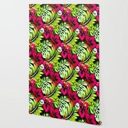 Hawaiian Flowered Print Red Green Black Wallpaper