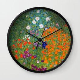 Flower Garden Bauerngarten Klimt Garden Floral Oil Painting Wall Clock