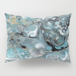 Turquoise White Gold Faux Marble Granite Pillow Sham
