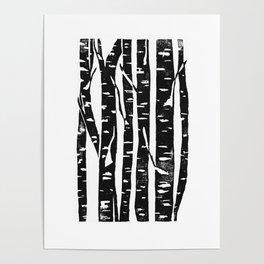 Woodcut Birches Black Poster