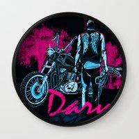 daryl Wall Clocks featuring Daryl Drive by Tracey Gurney