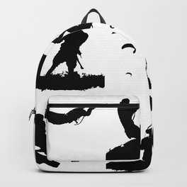 Wakeboarder Silhouette Collage Backpack