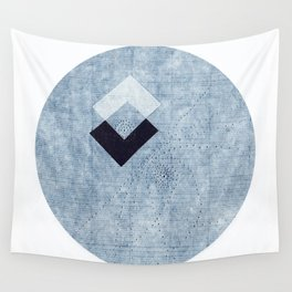 Rice paper Blue Square Wall Tapestry