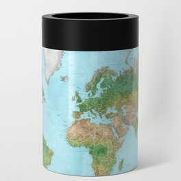 Watercolor physical world map (high detail) Can Cooler