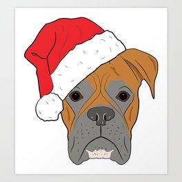 Christmas Festive Boxer dog Art Print