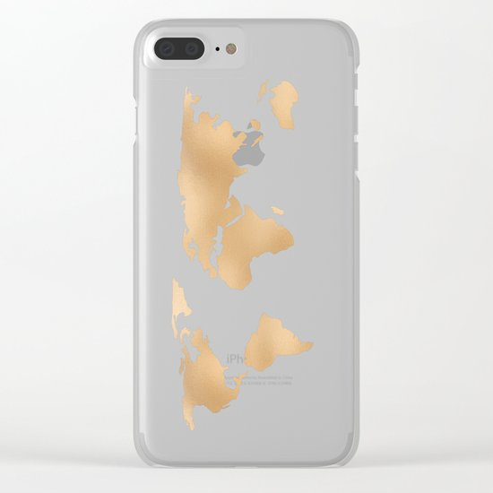 World Map Copper Bronze Gold Metallic Clear iPhone Case
