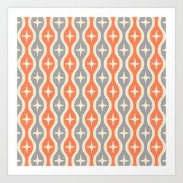 Mid century Modern Bulbous Star Pattern Orange and Gray Art Print