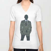 skyfall V-neck T-shirts featuring Skyfall - James Bond: The Old Fashioned Way by Jon Naylor