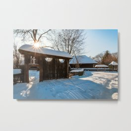 Sun star in a Romanian Village in winter Metal Print