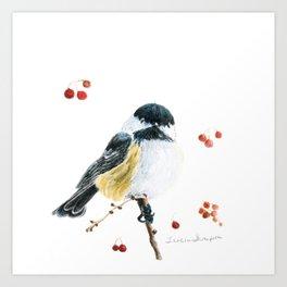 Christmas Chickadee by Teresa Thompson Art Print