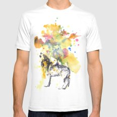 Howling Wolf in Splash of Color White Mens Fitted Tee MEDIUM
