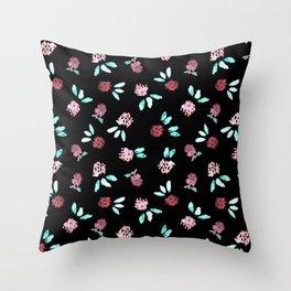 Clover Flowers on Black Throw Pillow