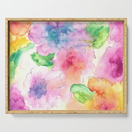 Watercolor Flowers Serving Tray