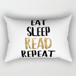 Eat Sleep Read Repeat Gold Rectangular Pillow