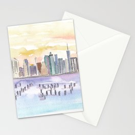 New York City Skyline View From Brooklyn Stationery Cards