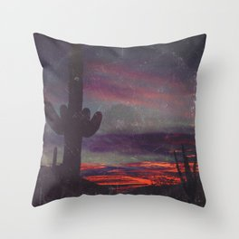 Darkness In The Desert - America As Vintage Album Art Throw Pillow