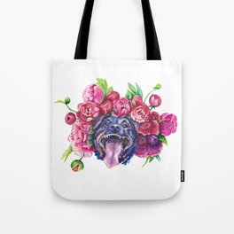 Dog smiles in the peonies Tote Bag