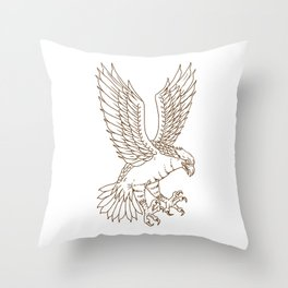 Osprey Swooping Drawing Throw Pillow