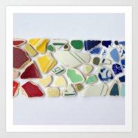 Sea Pottery Rainbow Art Print