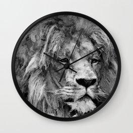 Lion Black and White  Mixed Media Digital Art Wall Clock