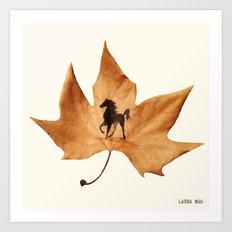 Horse on a dried leaf Art Print