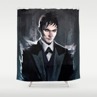 gotham Shower Curtains featuring Gotham - The Penguin by AkiMao