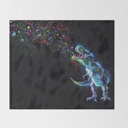 Crystal T-Rex in Space Throw Blanket