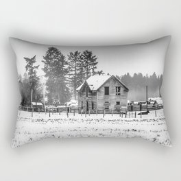 A Hazy Shade Of Winter  - Black And White Rectangular Pillow