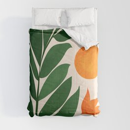 Tropical Forest Sunset / Mid Century Abstract Shapes Comforters