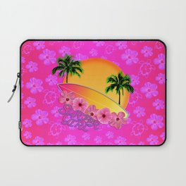 Surfer Girl Pink Tropical Flowers Laptop Sleeve