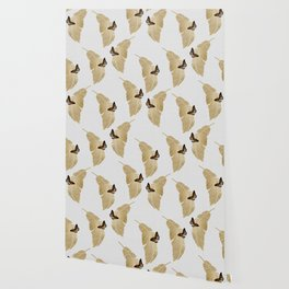 Butterfly & Palm Leaf, Gold Wall Art Wallpaper