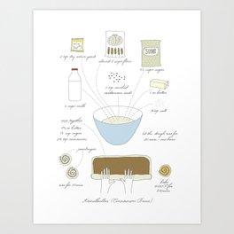 Cinnamon Buns - Illustrated Recipe Art Print