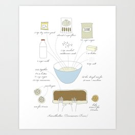 Cinnamon Buns - Illustrated Recipe Art Print