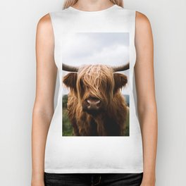 Scottish Highland Cattle in Scotland Portrait II Biker Tank