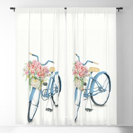 Blue Bicycle with Flowers in Basket Blackout Curtain