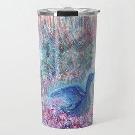 Mystical Blue Bird Watercolor Art Travel Mug