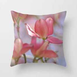 Pink Dogwood Tree Floral Throw Pillow