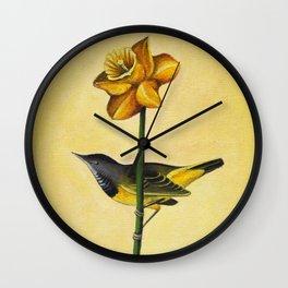 Daffodil & Bird Wall Clock