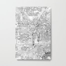 Las Vegas White Map Metal Print