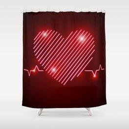 Neon Red EKG Heart Shower Curtain