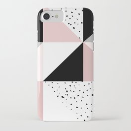 Geometrical pink black gray watercolor polka dots color block iPhone Case